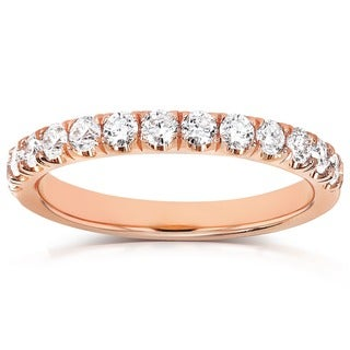 Link to Annello by Kobelli 14k Gold 1/2ct TDW Diamond Comfort Fit Flame French Pave Band Similar Items in Wedding Rings