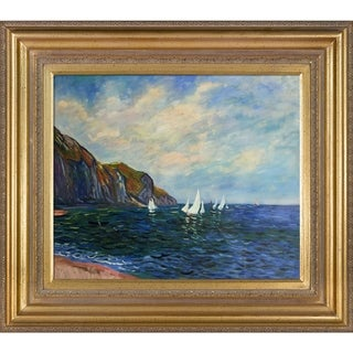 Claude Monet 'Cliffs and Sailboats at Pourville' Hand Painted Framed Canvas Art