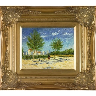 Vincent Van Gogh 'On The Outskirts of Paris' Hand Painted Framed Canvas Art