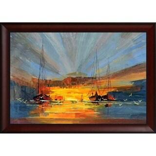 Justyna Kopania 'Boats' Hand Painted Framed Canvas Art