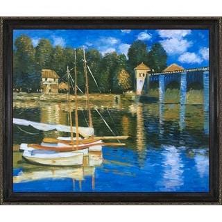 Claude Monet 'The Road Bridge at Argenteuil' Hand Painted Framed Canvas Art