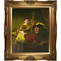 Rembrandt 'Rembrandt and Saskia in the Parable of the Prodigal Son' Hand Painted Framed Canvas Art