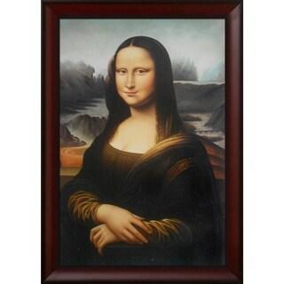 Leonardo da Vinci 'Mona Lisa' Hand Painted Framed Canvas Art