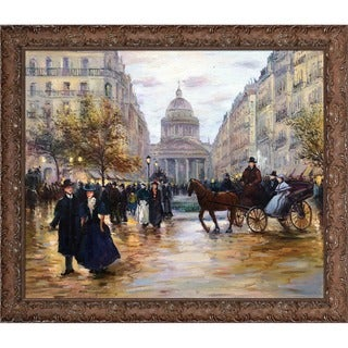 Jean-Francois Raffaelli 'Boulevard Saint-Michel' Hand Painted Framed Canvas Art
