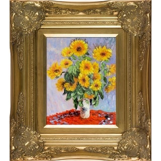 Claude Monet 'Sunflowers' Hand Painted Framed Canvas Art