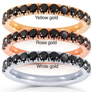 Annello by Kobelli 14k Gold 1/2ct TDW Black Diamond Comfort Fit Flame French Pave Band