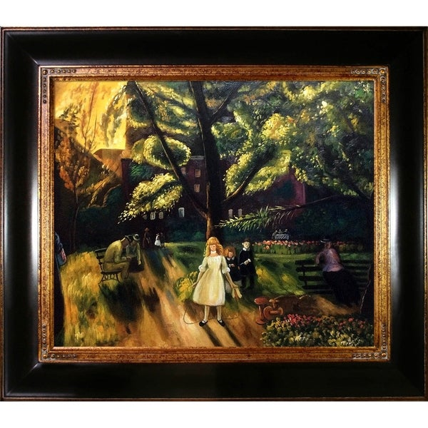 George Wesley Bellows 'Gramercy Park' Hand Painted Framed Canvas Art