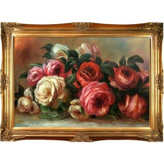 Pierre-Auguste Renoir 'Discarded Roses' Hand Painted Framed Canvas Art