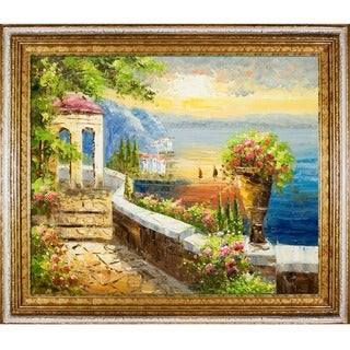 Sunset at Gazebo Point' Hand Painted Framed Canvas Art