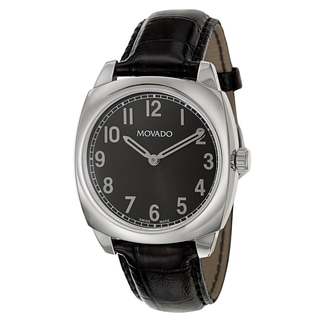 Movado Men's 0606586 'Circa' Black Leather Swiss Quartz Watch