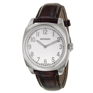 Movado Men's 0606587 'Circa' Brown Leather Swiss Quartz Watch
