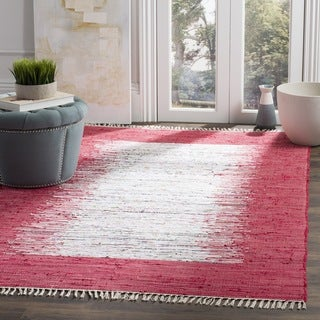 Safavieh Hand-woven Montauk Ivory/ Red Cotton Rug (6' Square)