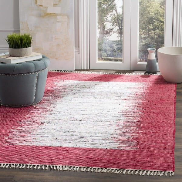 Damask Flatweave Rug: Shop Safavieh Hand-woven Montauk Ivory/ Red Cotton Rug
