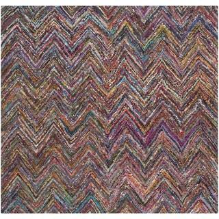 Safavieh Handmade Nantucket Abstract Chevron Blue/ Multi Cotton Rug (6' x 6' Square)