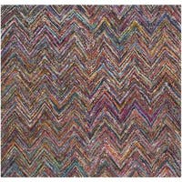 Safavieh Handmade Nantucket Abstract Chevron Blue/ Multi Cotton Rug - 6' Square