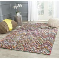 Safavieh Handmade Nantucket Abstract Chevron Blue/ Multi Cotton Rug - 8' Square