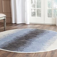 Safavieh Hand-woven Montauk Grey/ Black Cotton Rug - 6' Round