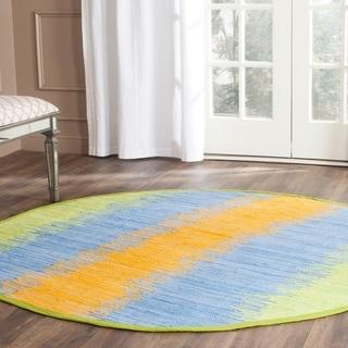 Safavieh Hand-woven Montauk Green/ Gold Cotton Rug (6' Round)