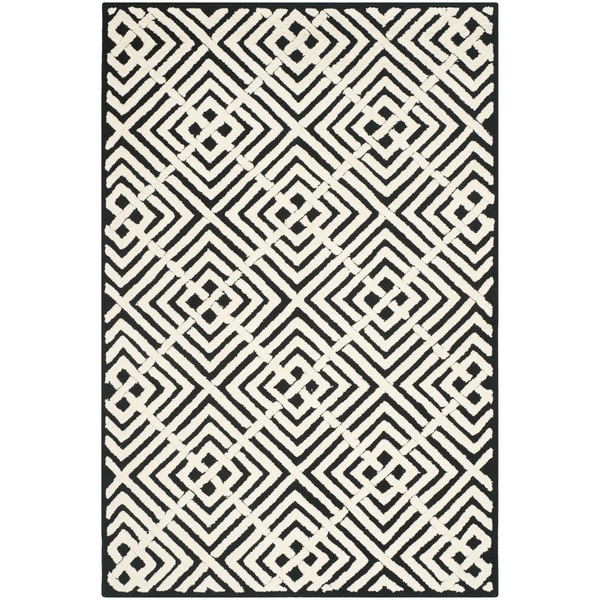 safavieh hand hooked newport black white cotton rug 5 39 6 x 8 39 6