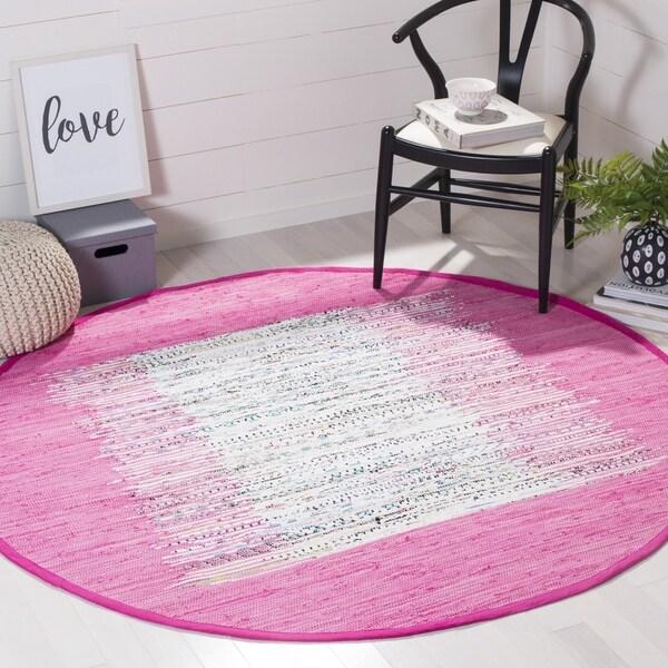 Shop Safavieh Montauk Hand-Woven Flatweave Ivory/ Pink