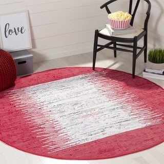Safavieh Hand-woven Montauk Ivory/ Red Cotton Rug (6' Round)