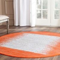 Safavieh Montauk Hand-Woven Flatweave Ivory/ Orange Border Cotton Area Rug - 6' X 6' Round