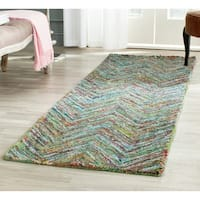 Safavieh Handmade Nantucket Abstract Chevron Blue/ Multi Cotton Runner Rug - 2' 3 x 12'