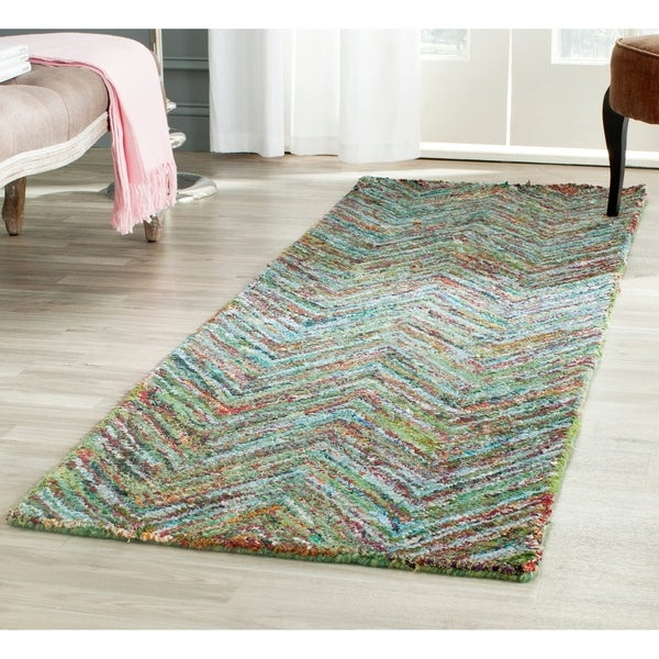 Safavieh Handmade Nantucket Abstract Chevron Blue Multi Cotton Runner Rug 2 3 X 12 On Free Shipping Today 9069003