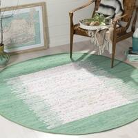 Safavieh Hand-woven Montauk Ivory/ Sea Green Cotton Rug - 6' Round