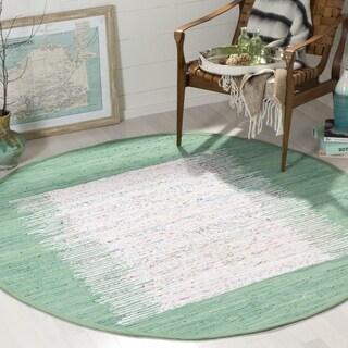 Safavieh Hand-woven Montauk Ivory/ Sea Green Cotton Rug (6' Round)