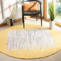 Safavieh Hand-woven Montauk Ivory/ Yellow Cotton Rug - 6' Round