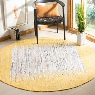 Safavieh Hand-woven Montauk Ivory/ Yellow Cotton Rug (6' Round)