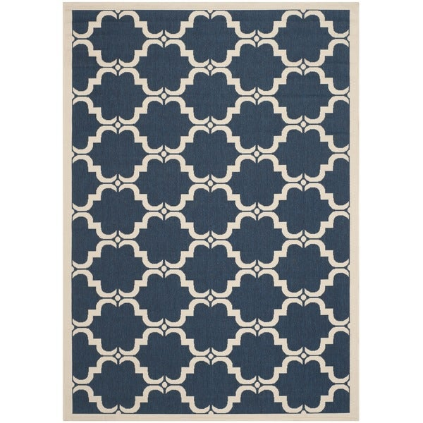 Safavieh Courtyard Moroccan Navy/ Beige Indoor/ Outdoor Rug (6'7 x 9'6)