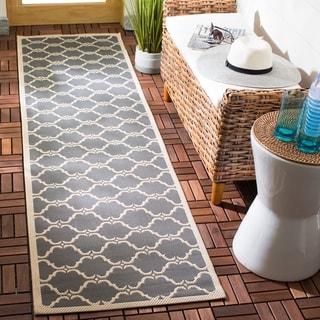 Safavieh Indoor/ Outdoor Moroccan Courtyard Anthracite/ Beige Rug (2'3 x 8')