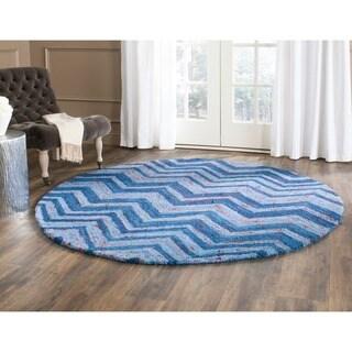 Safavieh Handmade Nantucket Abstract Chevron Blue/ Multi Cotton Rug (4' x 4' Round)