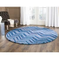 Safavieh Handmade Nantucket Abstract Chevron Blue/ Multi Cotton Rug - 4' x 4' Round