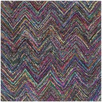 Safavieh Handmade Nantucket Abstract Chevron Blue/ Multi Cotton Rug - 4' Square
