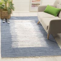 Safavieh Hand-woven Montauk Ivory/ Dark Blue Cotton Rug - 6' x 9'