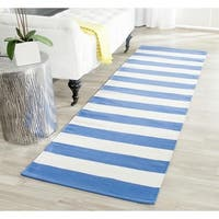 Safavieh Hand-woven Montauk Blue/ White Cotton Rug - 2'3 x 7'