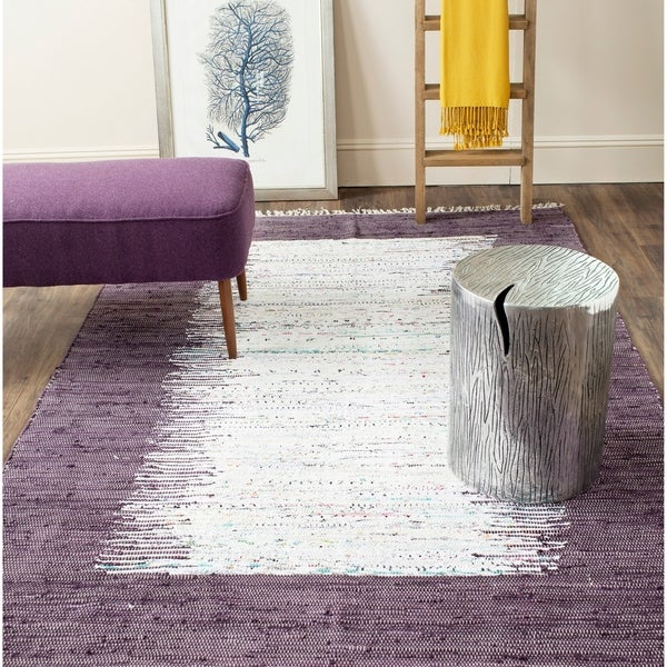 Safavieh Hand-woven Montauk Ivory/ Purple Cotton Rug - 5' x 8'