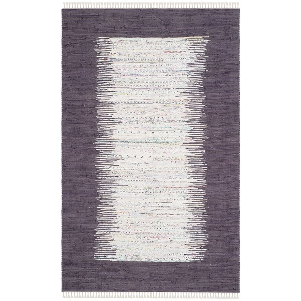 Safavieh Hand-woven Montauk Ivory/ Purple Cotton Rug (5' x 8')