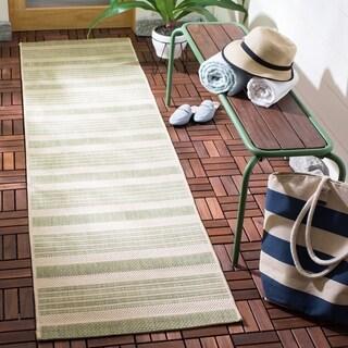 Safavieh Courtyard Stripe Beige/ Sweet Pea Indoor/ Outdoor Rug (2'3 x 8')