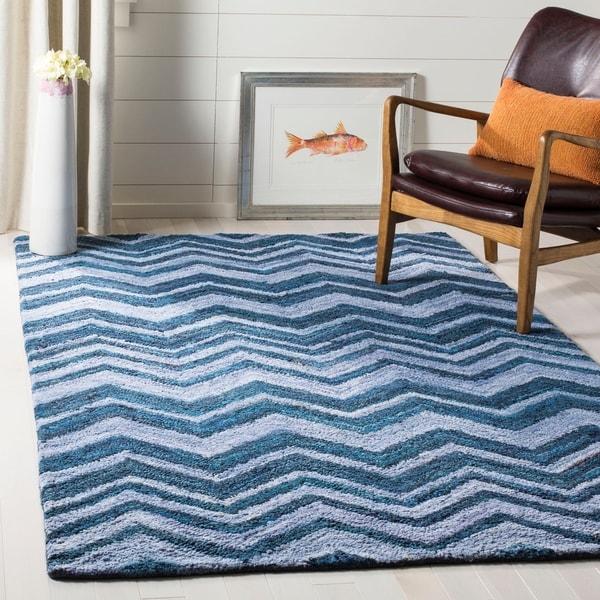 Safavieh Handmade Nantucket Abstract Chevron Blue/ Multi Cotton Rug - 5' x 8'