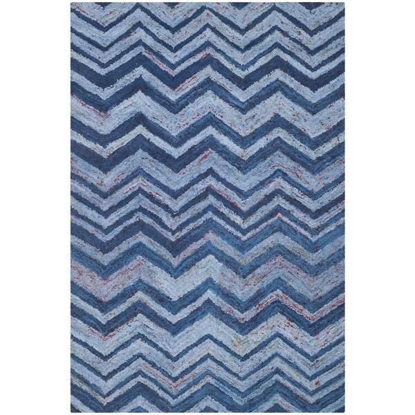 Safavieh Handmade Nantucket Abstract Chevron Blue/ Multi Cotton Rug (5' x 8')