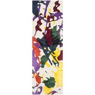 Isaac Mizrahi by Safavieh Handmade White Splatter Wool Rug (2'3 x 8')