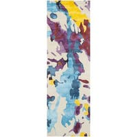 "Isaac Mizrahi by Safavieh Handmade Peach Splatter Wool Rug - 2'3"" x 8'"