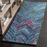 Safavieh Handmade Nantucket Abstract Chevron Blue/ Multi Cotton Runner Rug - 2' 3 x 8'