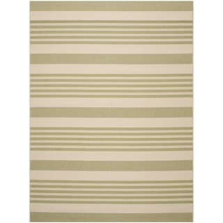 Safavieh Courtyard Stripe Beige/ Sweet Pea Indoor/ Outdoor Rug (9' x 12')