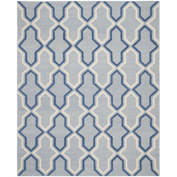 Safavieh Hand-woven Moroccan Reversible Dhurries Light Blue/ Dark Blue Wool Rug - 9' x 12'