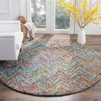 Safavieh Handmade Nantucket Abstract Chevron Blue/ Multi Cotton Rug - 9' x 12'
